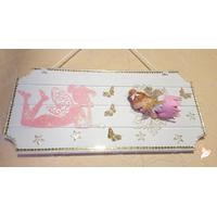 Plaque de porte bébé fille fée clochette rose- au coeur des arts