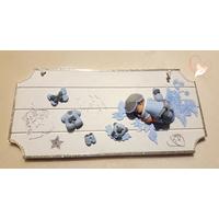 Plaque de porte bébé garçon bleu et gris- au coeur des arts