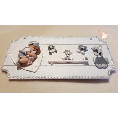 17-Plaque de porte bébé garçon blanc et gris - au coeur des arts