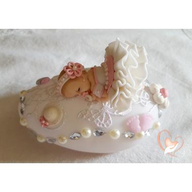 68-au coeur des arts - Veilleuse galet lumineux bebe fille