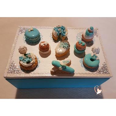 8B-Boîte à sucre ou à biscuits bleue et blanche - au coeur des arts