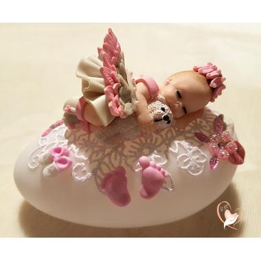 77- au coeur des arts - Veilleuse galet lumineux bebe fille