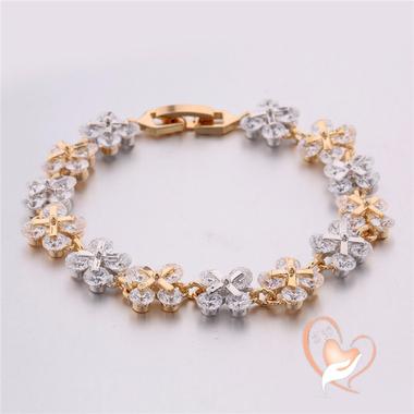 102-aucoeurdesarts-bracelet plaqué or et plaqué argent fleur