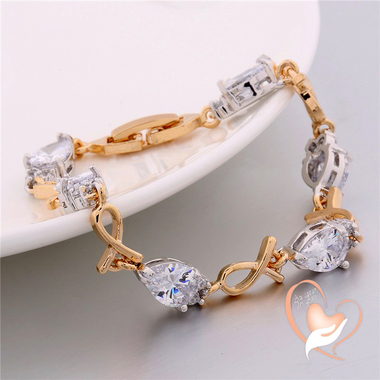 116-bracelet plaqué or et plaqué or blanc motif style poisson cristal Swarovski
