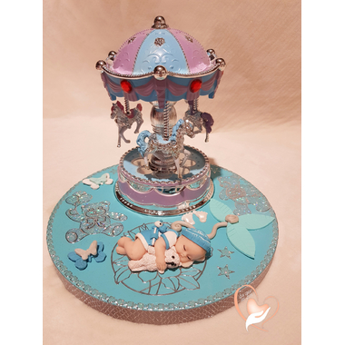 114-au coeur des arts-Carrousel musical Veilleuse lampe lumineuse sur socle en bois bebe garçon