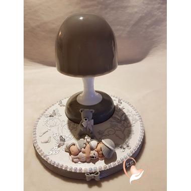 110-au coeur des arts-Veilleuse lampe lumineuse sur socle en bois bebe garçon