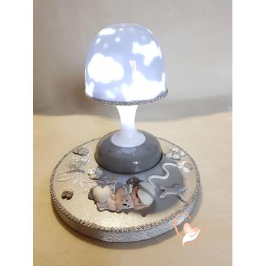 124-au coeur des arts-Veilleuse lampe lumineuse sur socle en bois bebe garçon