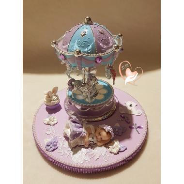 126-au coeur des arts-Veilleuse Carrousel lumineux sur socle en bois bebe fille