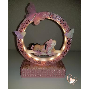 10-au coeur des arts-Veilleuse arche musical bebe fille mini rose