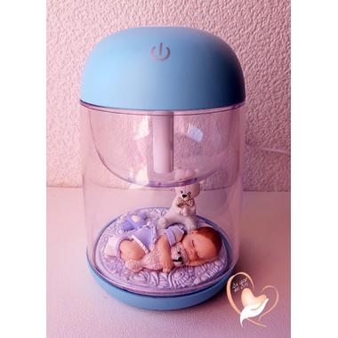 19-Veilleuse Humidificateur lumineux bébé garçon et son ours- au coeur des arts