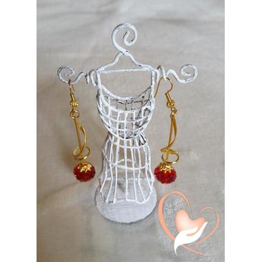 10-boucles perle cristal support doré crochet oreille  plaqué or  L 7 cm poids 10 g logo