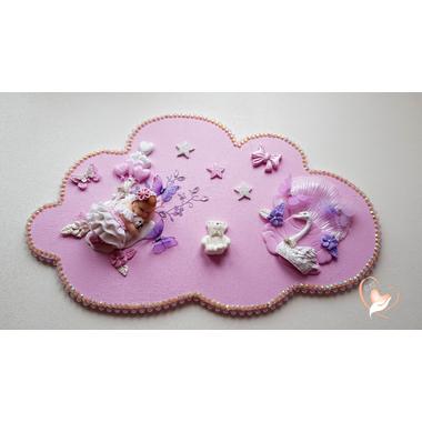 PP34-Plaque de porte nuage bebe fille - au cœur des arts