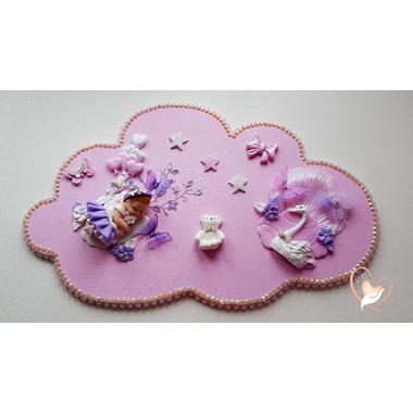 PP37-Plaque de porte nuage bebe fille - au cœur des arts
