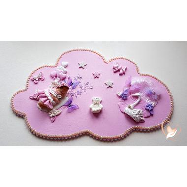 PP31-Plaque de porte nuage bebe fille - au cœur des arts