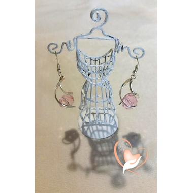 9-boucle spirale perle de cristal monture argent  poids 10 g L 5 cm N°8
