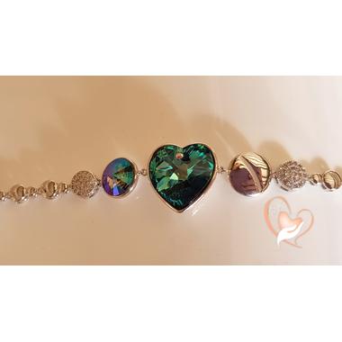 B-Bracelet argent  cœur cristal swarovski - au coeur des arts