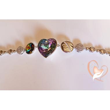 B123-Bracelet argent  cœur cristal swarovski - au coeur des arts