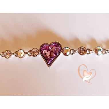 B124B-Bracelet argent  cœur cristal swarovski - au coeur des arts