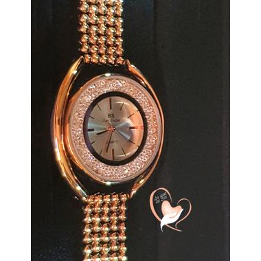 M17-Montre plaqué or bracelet chaîne boule cadran cristal Swarovski