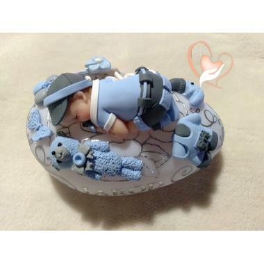 VG137A-au coeur des arts-Veilleuse galet lumineux bebe garcon