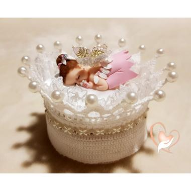 CD2-au-coeur-des-arts-couronne boîte à dragées bebe fille fee clochette fimo