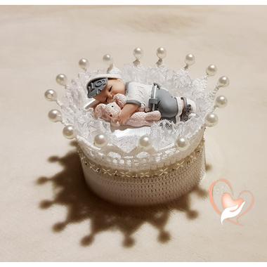 CD7B-au-coeur-des-arts-couronne boîte à dragées bebe garçon fimo