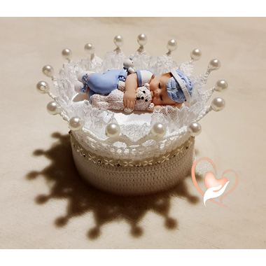 CD9B-au-coeur-des-arts-couronne boîte à dragées bebe garçon fimo