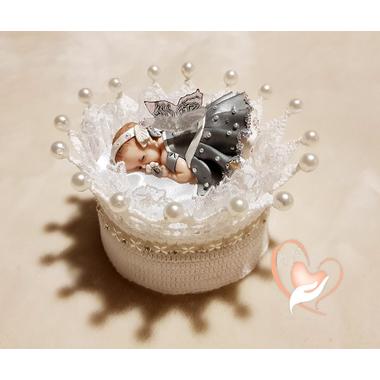 CD3B-au-coeur-des-arts-couronne boîte à dragées bebe fille fimo