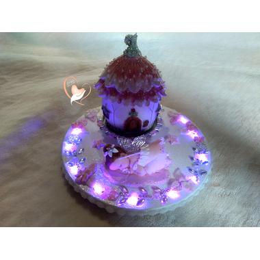VPM1-Veilleuse fée clochette et sa maisonnette led sur socle en bois bebe fille - au cœur des arts