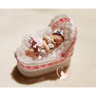 CD28-au-coeur-des-arts-couffin boîte à dragées bebe fille fimo
