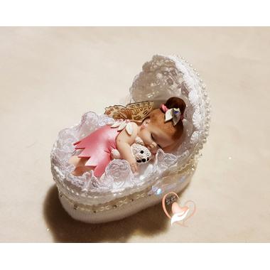CD27-au-coeur-des-arts-couffin boîte à dragées bebe fille fee clochette et son ours blanc fimo