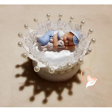 CD14-au-coeur-des-arts-couronne boîte à dragées bebe garçon fimo