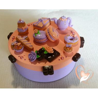 Boîte à gâteaux pêche lavande - au coeur des arts