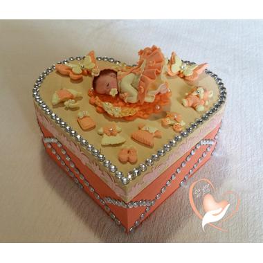 Boîte de naissance pêche et vanille - au coeur des arts