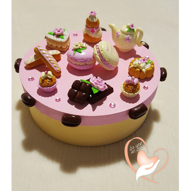 19b-Boîte à gâteaux rose vanille- au coeur des arts