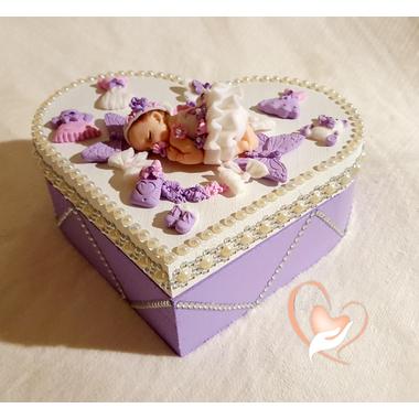 25-Boîte de naissance parme et blanche - au coeur des arts