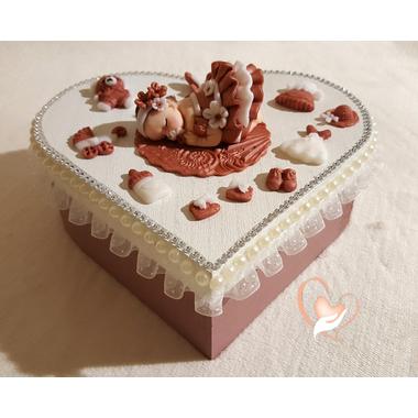 29-Boîte de naissance vieux rose et blanche - au coeur des arts