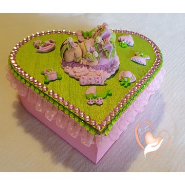 31B-Boîte de naissance verte et rose - au coeur des arts
