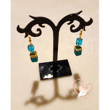 31-Boucles d'oreilles perles polaris bleues chaine palqué or - au coeur des arts