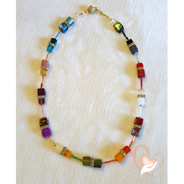 38-Bracelet perles polaris chaine plaqué or - au coeur des arts