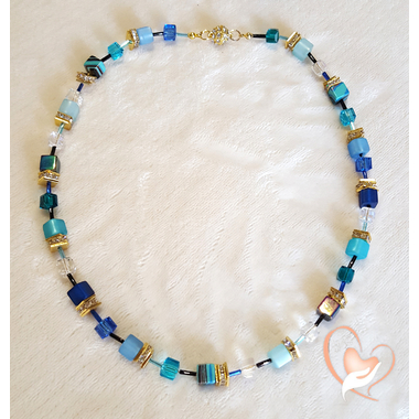 35-Collier perle polaris degrade de bleu- au coeur des arts