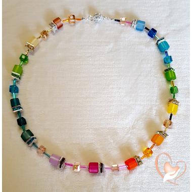 36-Collier perle polaris multicolore argent- au coeur des arts