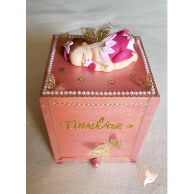 1-Tirelire bébé fille - fée clochette rose - au coeur des arts