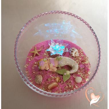 26-Veilleuse Sirène dans sa bulle rose et verte - au coeur des arts