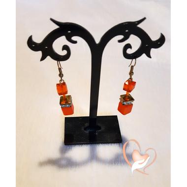 44-Boucles d'oreille dormeuses orange, plaque or - au coeur des arts
