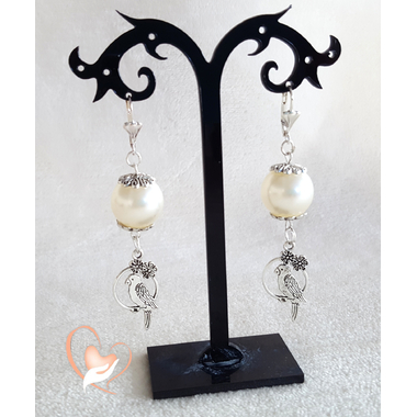 52-Boucles d'oreille pendantes perroquet - au coeur des arts