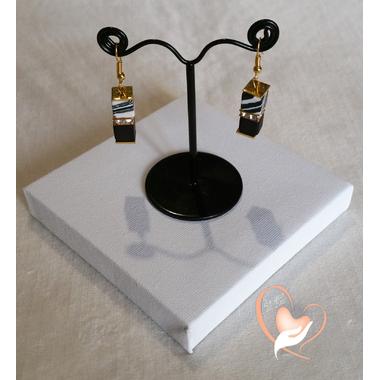 66-Boucles d'oreille Kenya zébré et noir plaqué or- au coeur des arts