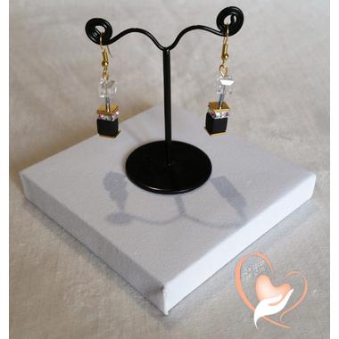68-Boucles d'oreille Kenya transparent et noir plaqué or- au coeur des arts