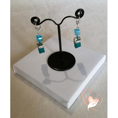 54-Boucles d'oreille perles polaris bleues argent- au coeur des arts