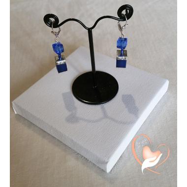 55-Boucles d'oreille perles polaris émeraudes et bleues argent- au coeur des arts